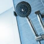 Shower head. Shower room details close up